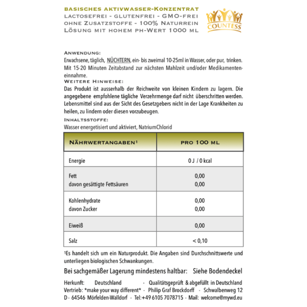 Basisches Konzentrat Information 500ml /1.000ml
